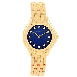 Cartier Cougar 11651 18K Yellow Gold & Blue Diamond Dial 32mm Womens Watch