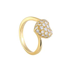 Cartier 18K Yellow Gold with 0.50ct Diamond Heart Ring Size 5