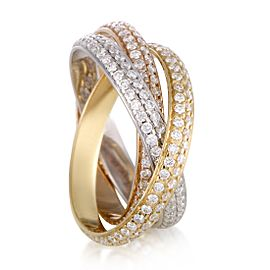 Cartier Trinity 18K Yellow, White and Rose Gold with 1.35ct Diamond 3-Band Ring Size 5