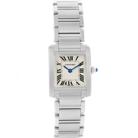 Cartier Tank Francaise W51008Q3 Stainless Steel & Silver Dial 20mm Womens Watch