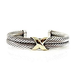 David Yurman Sterling Silver 14K Yellow Gold 2-Row X Bracelet
