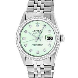 Rolex Datejust 16014 Stainless Steel & 18K White Gold Ice Green Diamond Dial Automatic 36mm Mens Watch