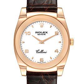 Rolex Cellini Cestello Rose Gold White Dial Ladies Watch 5320