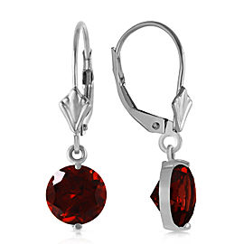 3.1 CTW 14K Solid White Gold Notwith standing Garnet Earrings