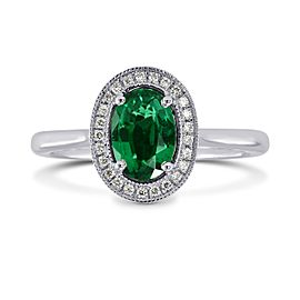 Leibish 18K White Gold with 0.64ctw Oval Green Emerald & Diamond Engagement Ring Size 5.75