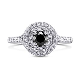 Leibish 18K White Gold Black Diamond Double Halo Ring Size 6