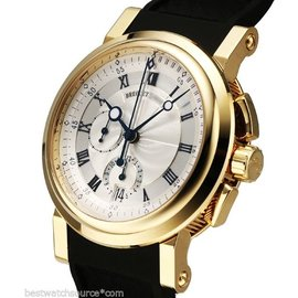 Breguet 5827ba/12/5zu Marine Chronograph 18K Yellow Gold Chrono B&P Watch