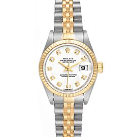 Rolex Datejust Steel Yellow Gold White Diamond Dial Ladies Watch 79173