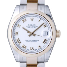 Rolex Datejust 178241 Stainless Steel & Rose Gold White Roman Dial 31mm Womens Watch