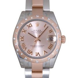 Rolex Datejust 178341 Stainless Steel Rose Gold Diamond Bezel Pink Roman Dial 31mm Womens Watch