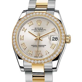 Rolex Datejust 178383 Stainless Steel/Yellow Gold 46 Diamond Silver Dial 31mm Womens Watch