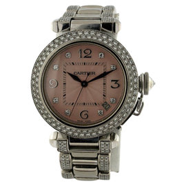 Cartier Pasha C 18K White Gold With Diamond Bezel, Dial, Bracelet Unisex Watch