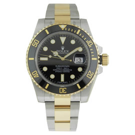 Rolex Submariner Stainless Steel 116613 18k YG Black Dial Auto B&P Mens Watch