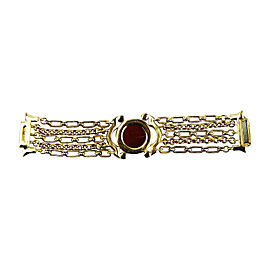 Judith Leiber Gold Tone Agate & Swarovski Crystals Bracelet with Magnetic Closure