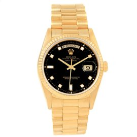 Rolex Day-Date 18238 18K Yellow Gold & Black Diamond Dial 36mm Mens Watch