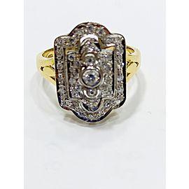 14k Yellow and White Gold .36ct Diamond Art Deco Ring