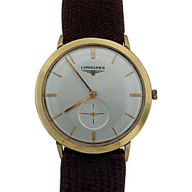 Longines Vintage C.1960S Yellow Gold Brown Strap Mechanical Mens Watch