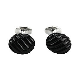 David Yurman Sterling Silver & Black Onyx Cufflinks
