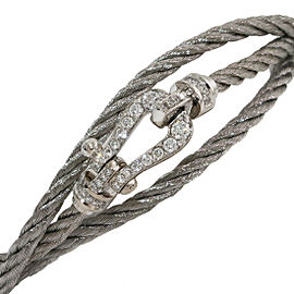 FRED Force 10 Diamonds Silver 3Row Cord Bracelet in 18K White Gold & Steel