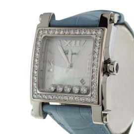 Chopard Happy Sport II Stainless Steel & Crocodile Leather With Diamond Mother of Pearl Dial Womens Watch
