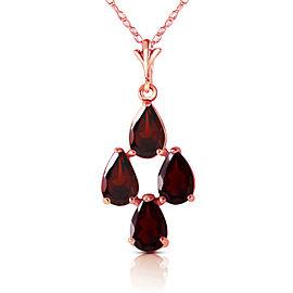 1.5 CTW 14K Solid Rose Gold Necklace Natural Garnet