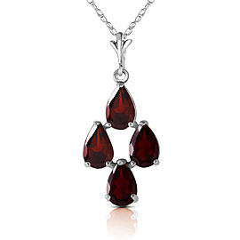 1.5 CTW 14K Solid White Gold Night Out Garnet Necklace