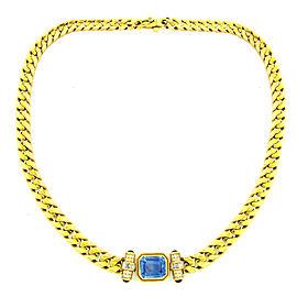 Bvlgari Yellow Gold Sapphire Ruby and Diamond Pendant Necklace