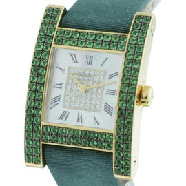 Chopard Your Hour 18k Yellow Gold Diamond & Emerald 25mm x 25mm x 36mm Watch