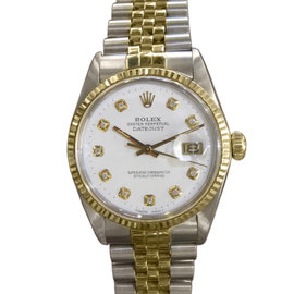 Rolex Oyster Perpetual Datejust Diamond Yellow Gold Steel Vintage Watch