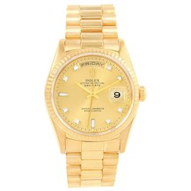 Rolex Day-Date 18238 18K Yellow Gold & Champagne Diamond Dial 36mm Mens Watch