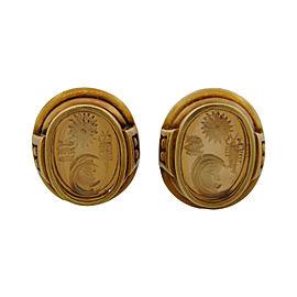 Kieselstein-Cord 18k Yellow Gold Vintage Carved Art Glass Clip-on Earrings