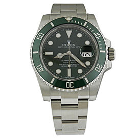 "Rolex Submariner ""HULK"" 116610LV 40mm Stainless Steel Green Ceramic Bezel Watch"
