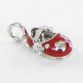 Aaron Basha 18k White Gold Baby Shoe Flowers Red 0.26cts Diamonds
