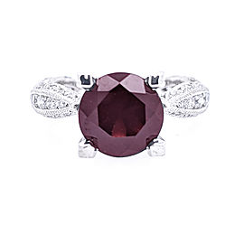 Tacori 18k White Gold 8.5mm Garnet & Diamond Ring