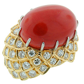 David Webb Coral Diamond Yellow Gold Ring