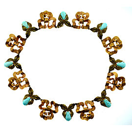Mario Buccellati 18k Rose & Yellow Gold Turquoise Necklace