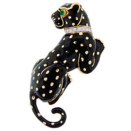 David Webb Enamel Diamond Yellow Gold Panther Pin Brooch