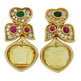 Bvlgari Heart Yellow Sapphire Diamond Gold Earrings