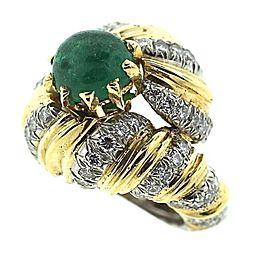 Tiffany & Co. 18k Yellow Platinum Gold Diamond Emerald Ring