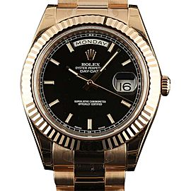 Rolex RL175 218235 Day-Date II Rose Gold President Black Watch