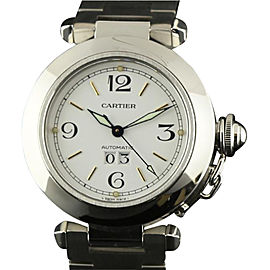 Cartier 2475 370 Pasha 35mm Stainless Steel White Stick Automatic Watch