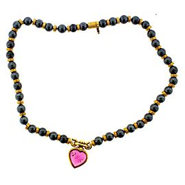 Bulgari 18K Yellow Gold Hematite & Pink Tourmaline Heart Necklace