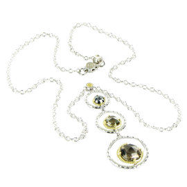 Tacori 18K 925 Sterling Silver Yellow Gold Quartz Hematite Necklace