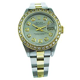 Rolex Oyster Perpetual Datejust Yellow Gold & Steel Diamond Dial Bezel Watch