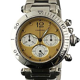 Cartier Pasha Chronograph W31004H3 Quartz Stainless Steel Womens 38mm Watch
