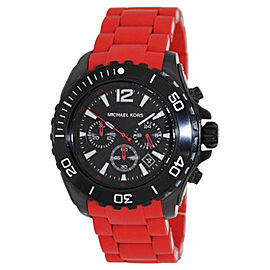 Michael Kors MK8212 Chronograph Black Dial Red Silicone Men's Watch