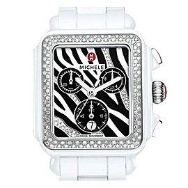 Michele MWW06F000010 Deco Zebra White Ceramic Stainless Steel and Diamonds 33mm Watch