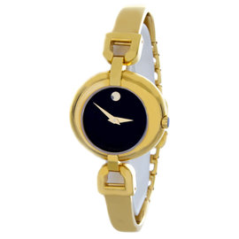 Movado Black Dial Gold-Tone Bangle Bracelet Womens Watch