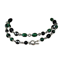 David Yurman Sterling Silver Forest Malachite Onyx Hematite Necklace