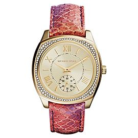 Michael Kors MK2387 Bryn Gold Dial Leather Strap Women's Watch